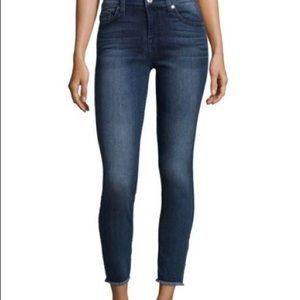7 For All Mankind High Waist Frayed Skinny Jeans